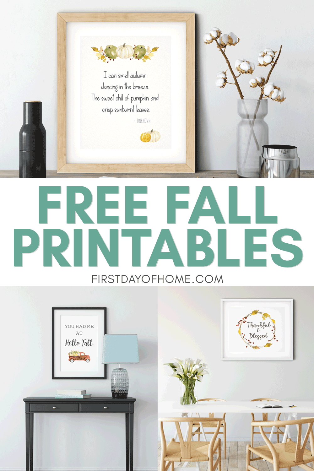Free fall printables - farmhouse style watercolor prints hanging on walls