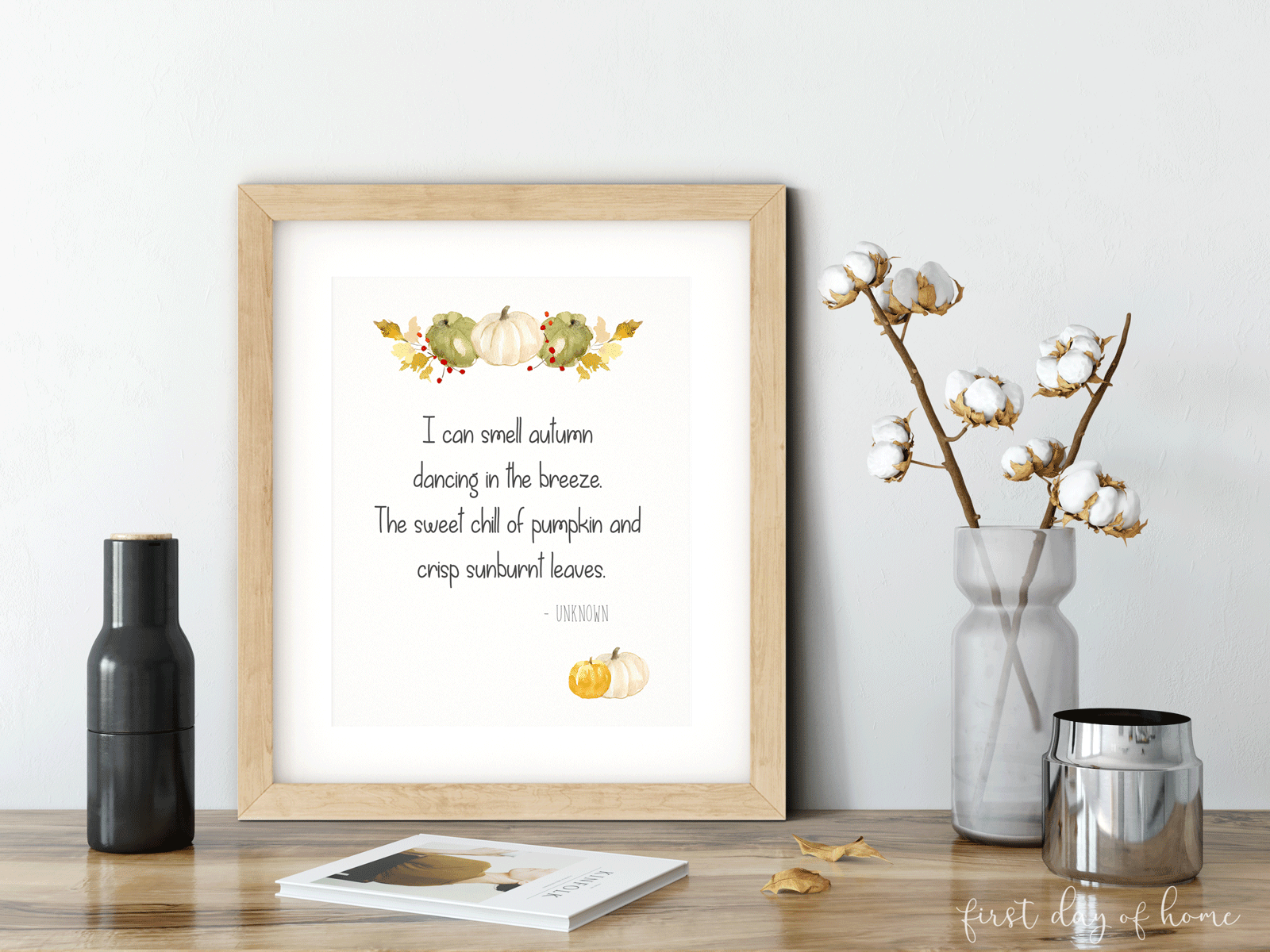 "Free printable art with ""I can smell autumn"" poem sitting on desk"
