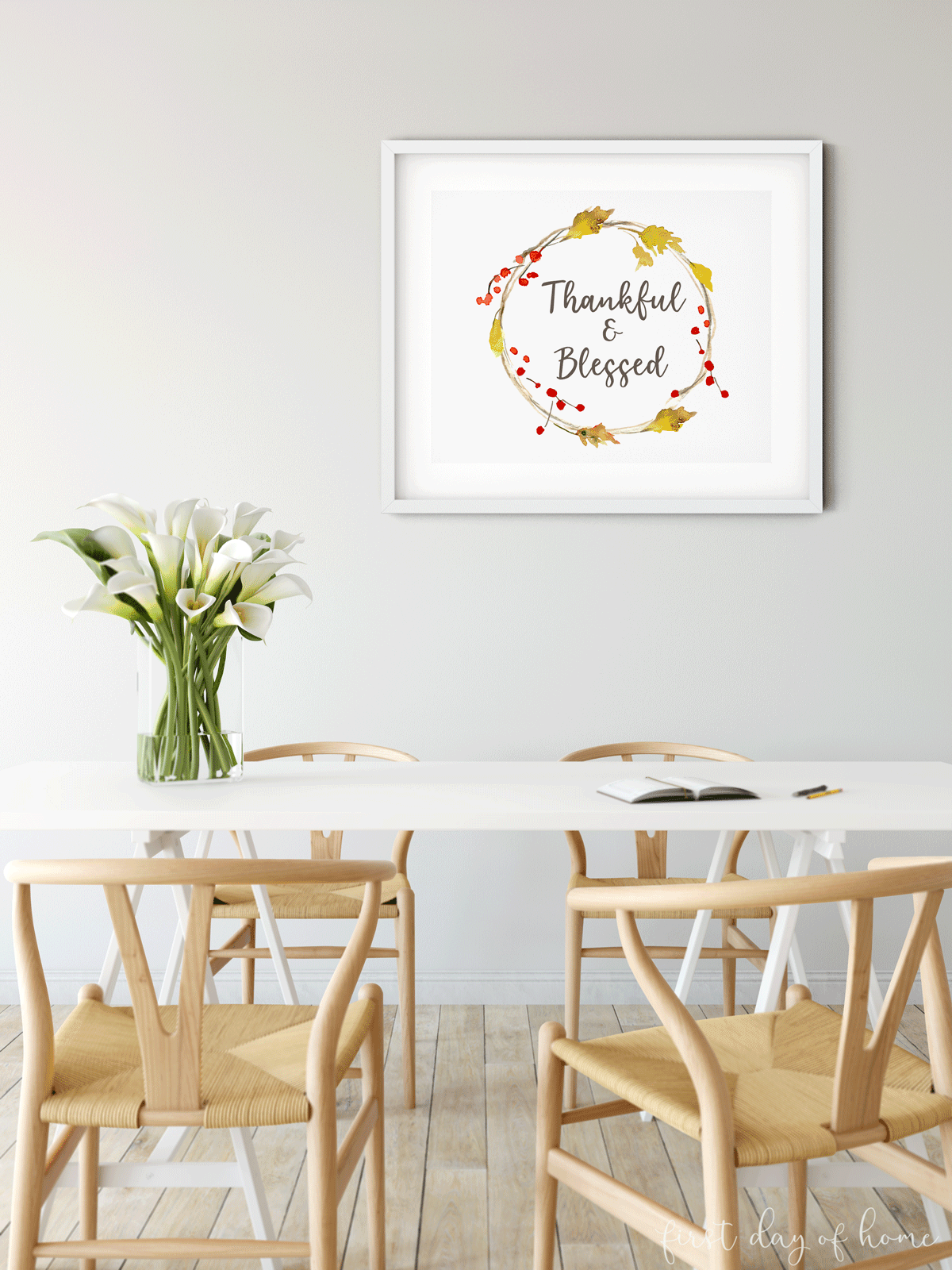 "Fall printables with with autumn wreath and words ""Thankful and blessed"" in breakfast room"