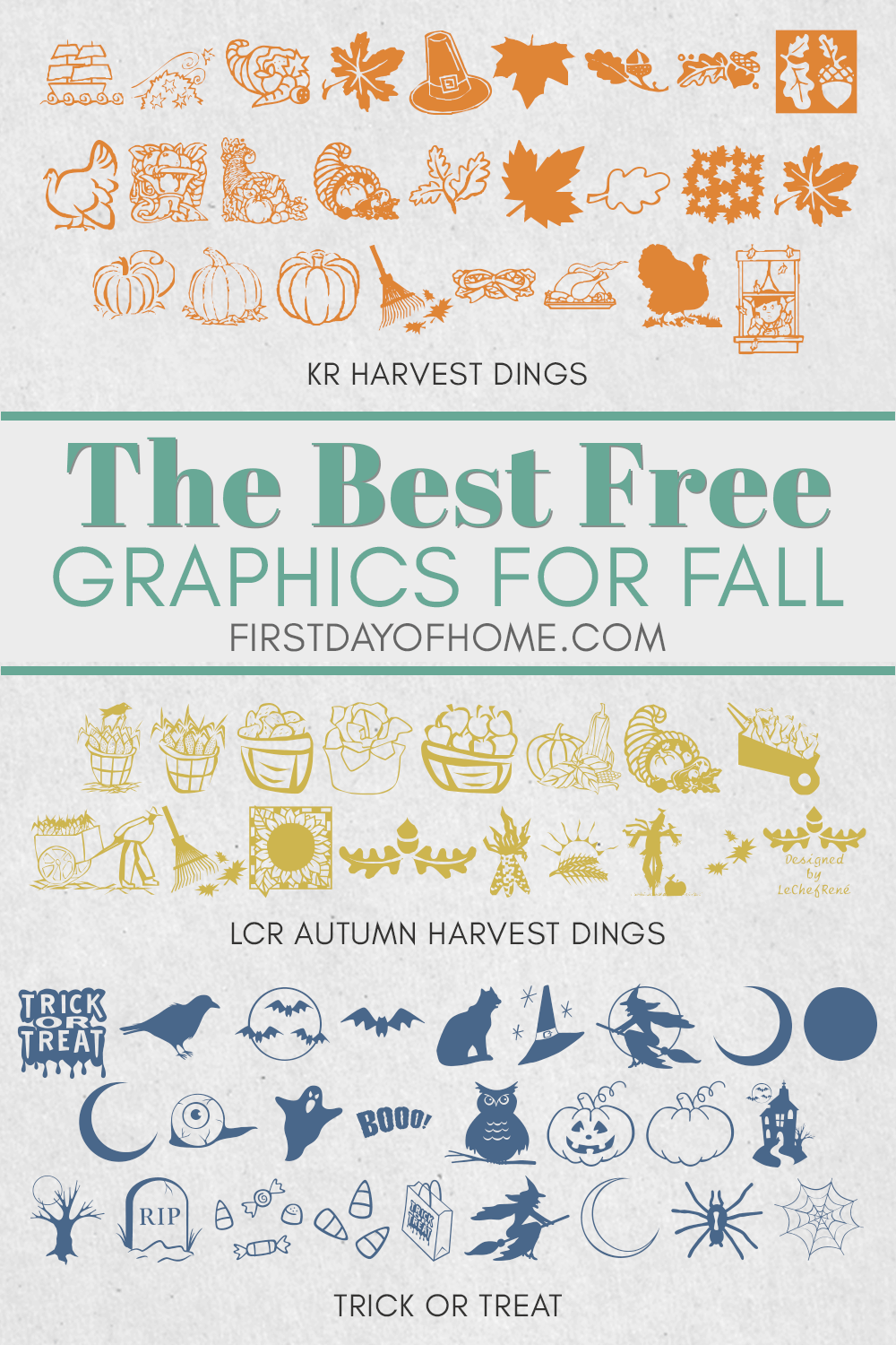Free dings that have fall graphics instead of letters for clip art, printables and Cricut and Cameo projects