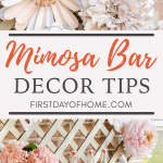 Mimosa bar paper flowers and juice and champagne station with pink and blush tones