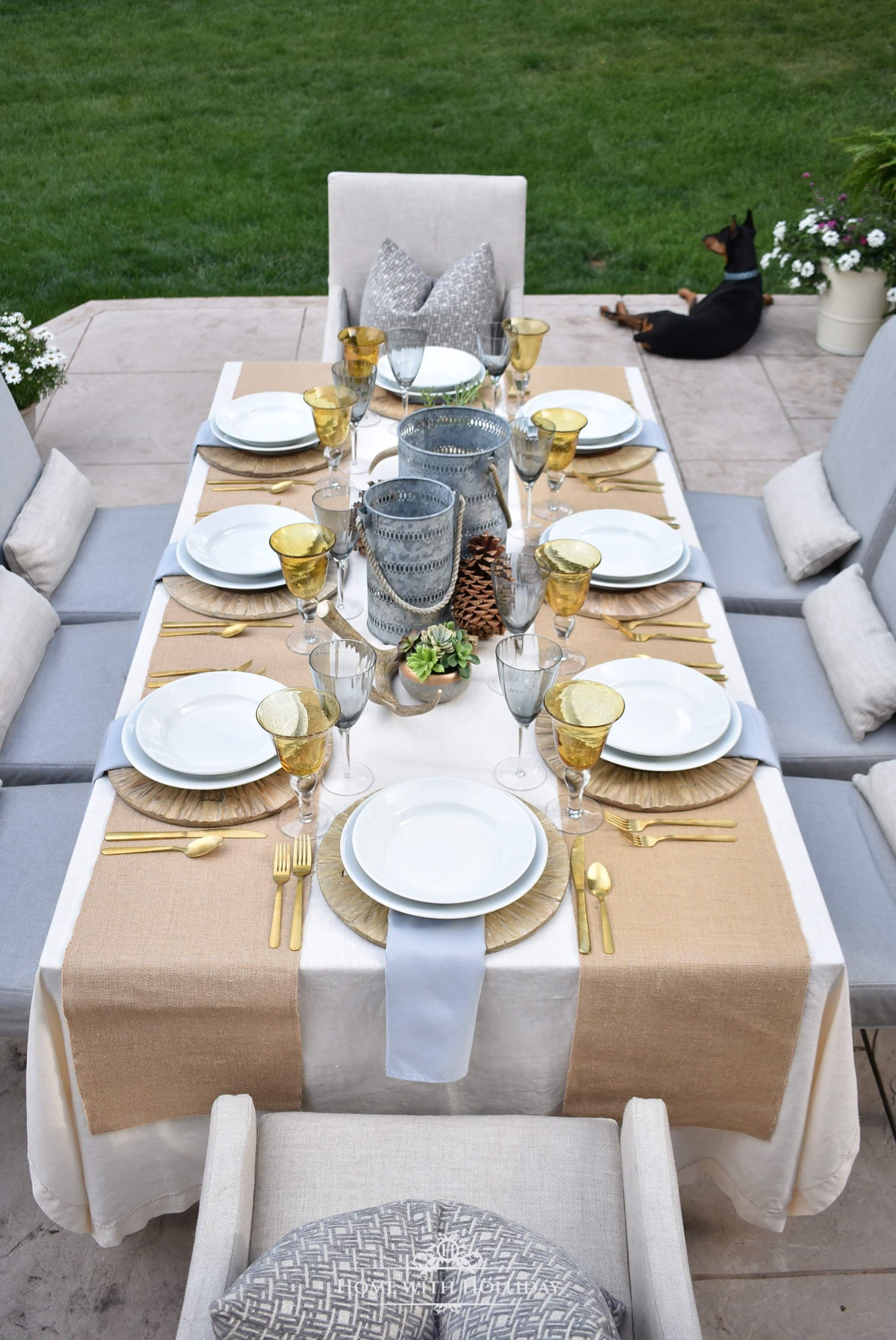 Home with Holliday rustic tablescape for summer