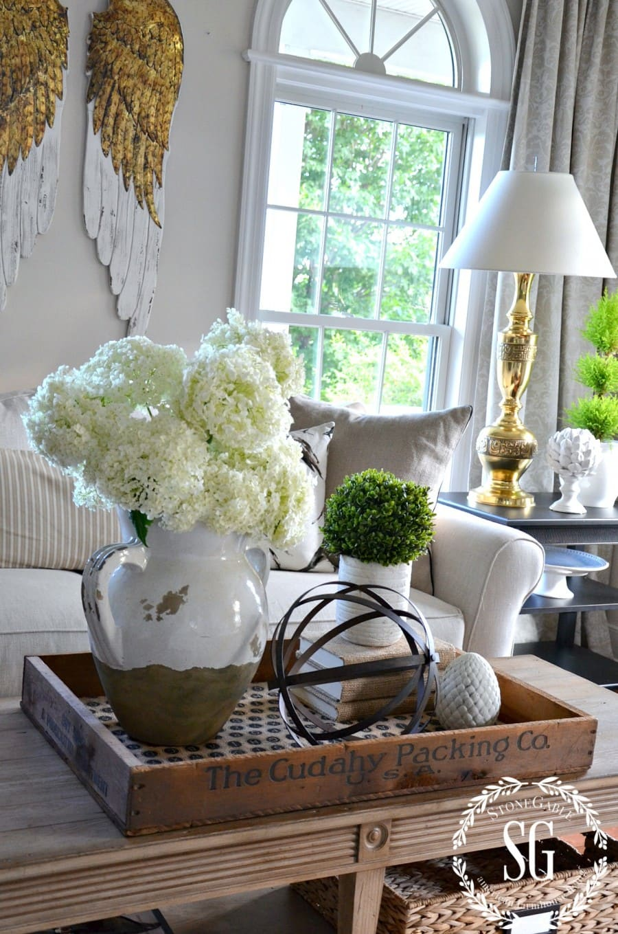 Summer home coffee table vignette from StoneGable blog