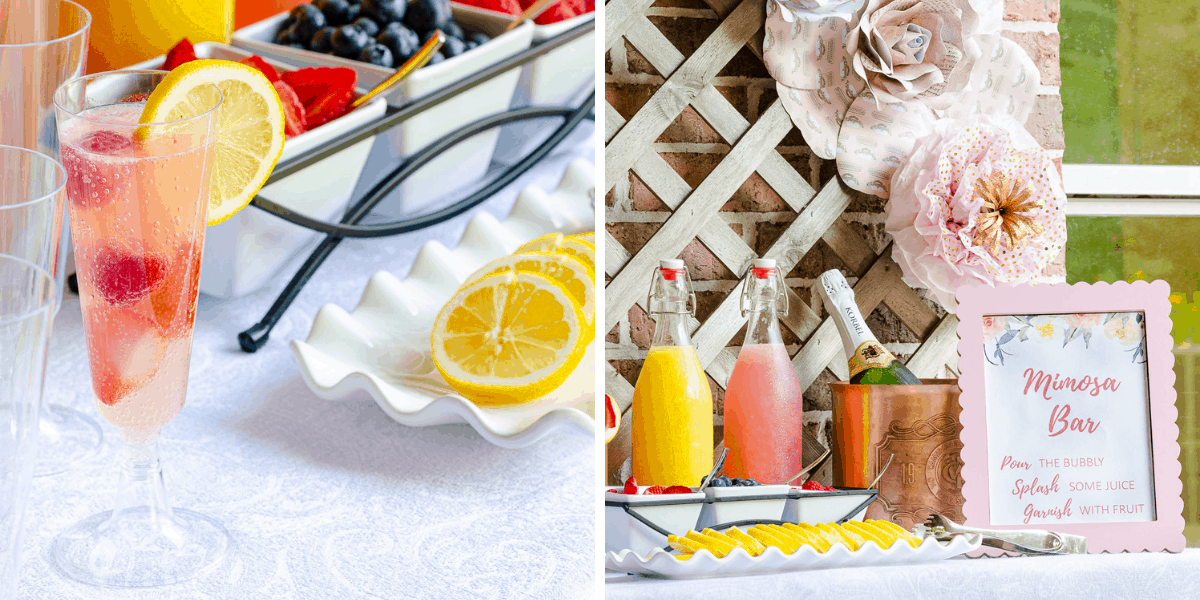 Mimosa bar ideas with champagne, juices and fruit garnishes for bridal shower, baby shower or ladies brunch