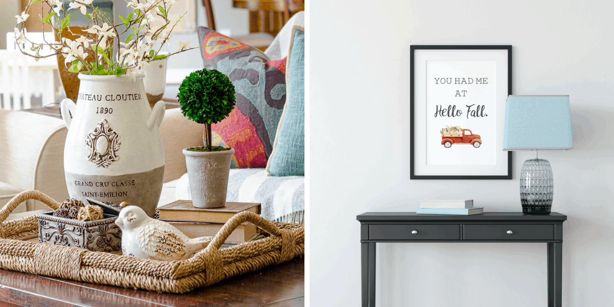 "Tuesday Turn About Features from First Day of Home - Coffee Table Tray Decor and Fall Printable Art with the phrase ""You had me at Hello Fall"""