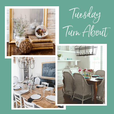Tuesday Turn About #11 with frosted mirror, summer home tour and DIY planked tabletop