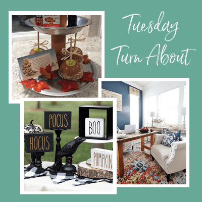 Tuesday Turn About link party with office makeover and fall crafts