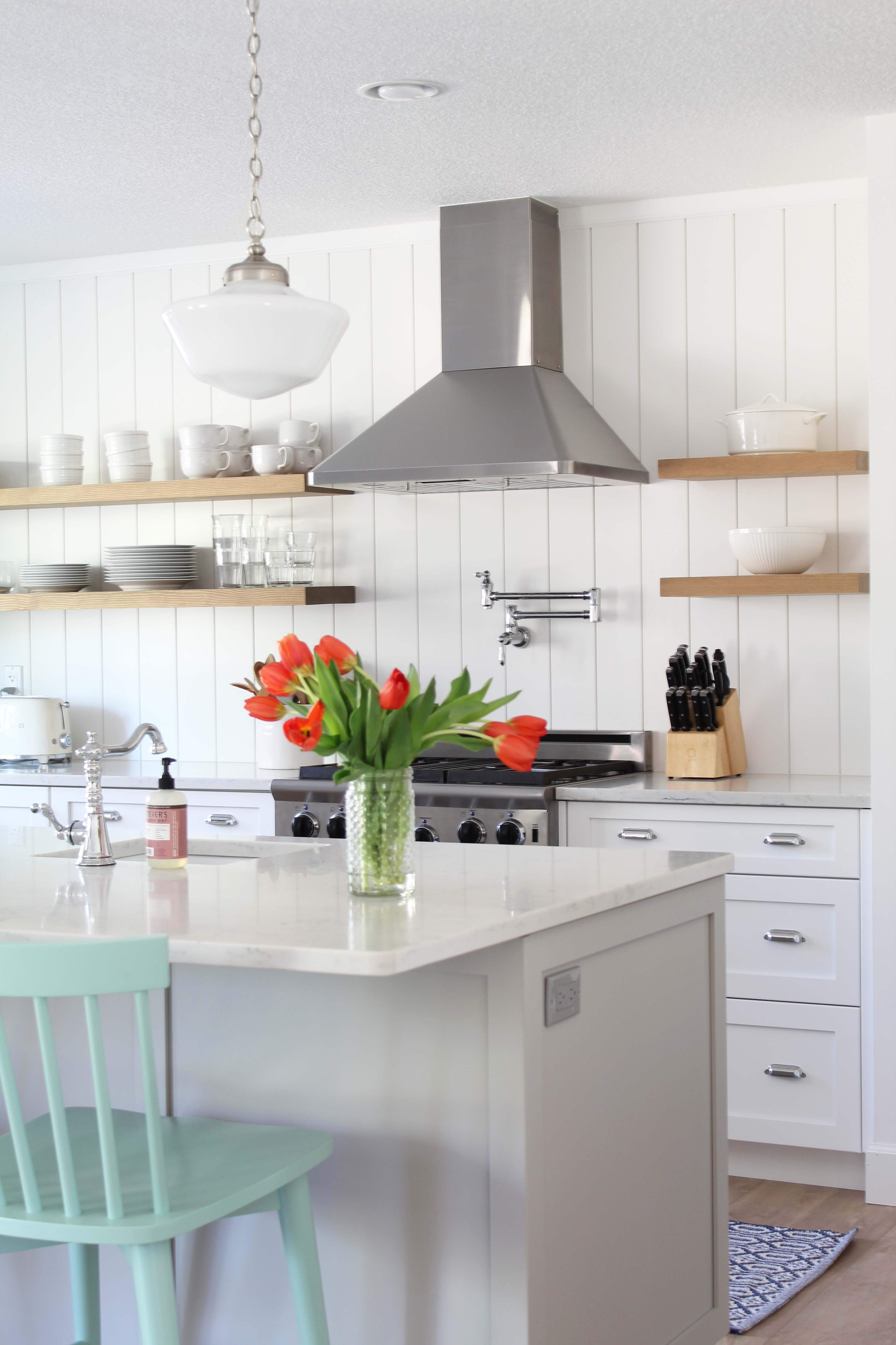 A Nod to Navy vertical shiplap kitchen makeover