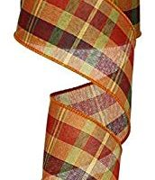 Fall Woven Plaid Orange Persimmon Gold Wired Ribbon