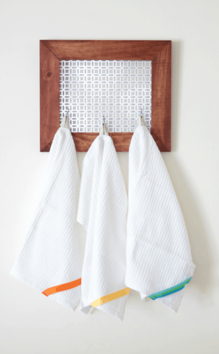 DIY farmhouse style hanging dish towel tutorial