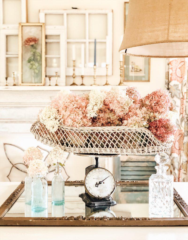 Hydrangea centerpiece for fall decor