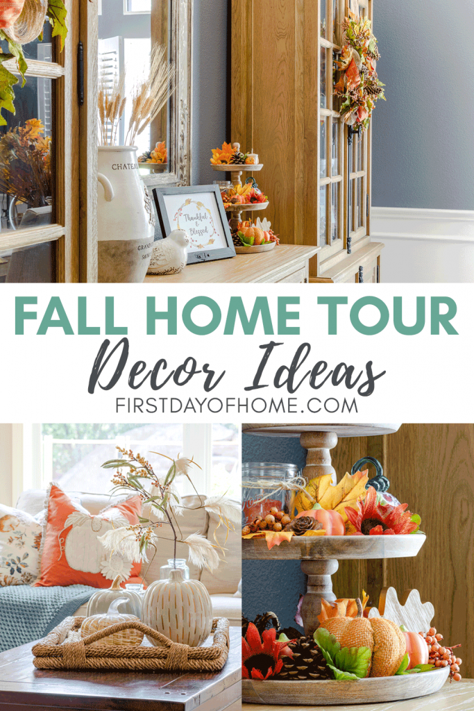 Fall home tour with decorating tips and suggestions for living room, breakfast room and dining room