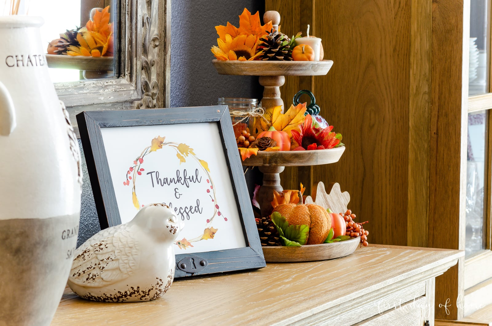 Wooden sideboard table with fall tiered tray decor and free fall printables