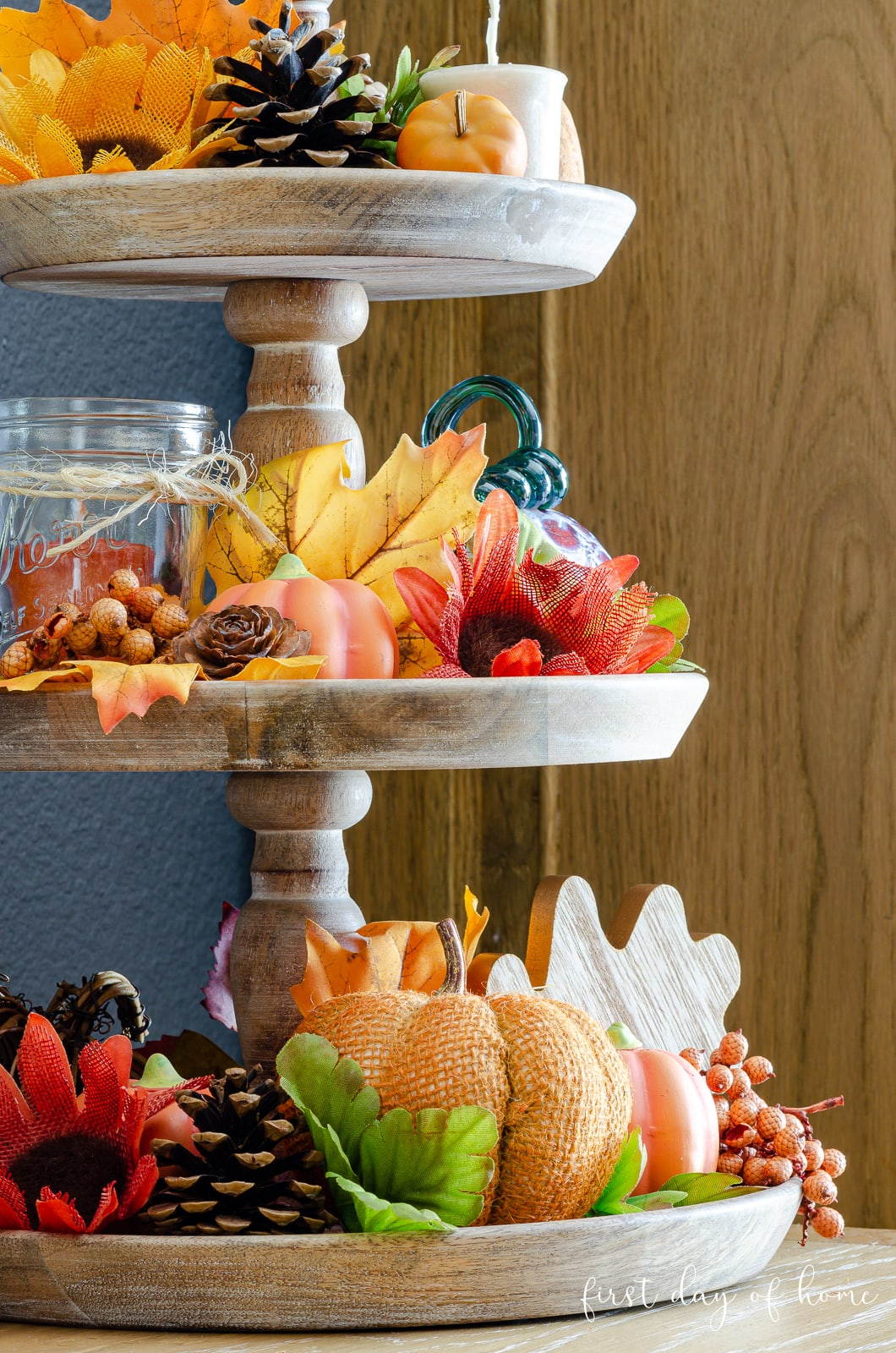Three-tiered tray with fall decor