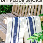 DIY flour sack towels with navy stripes