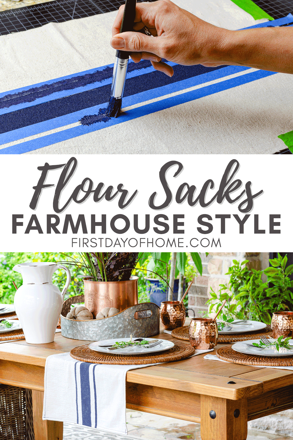 Farmhouse style flour sack dish towels using drop cloth and acrylic paints