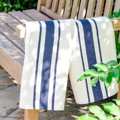 Flour sack dish towels on rustic park bench