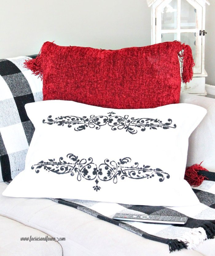 French seam DIY drop cloth pillow cover