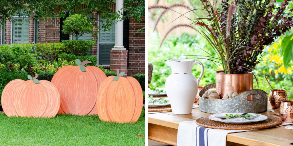 Wooden pumpkin cutouts in yard and fall table place setting with copper accents and DIY grain sack towels