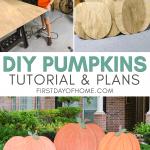 DIY wooden pumpkin cutouts for yard decorations