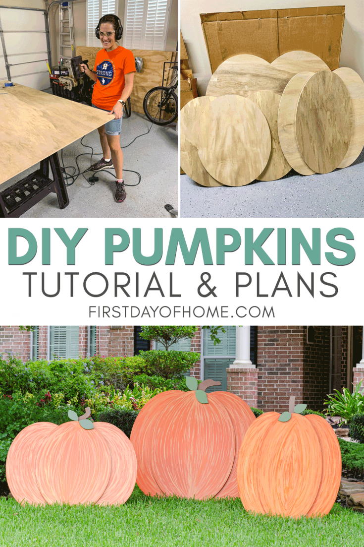 Get FREE plans for DIY wooden pumpkins to display outdoors. This fall DIY decor project is easy enough for a beginner (like me), and the tutorial walks through all the steps and supplies you'll need. #woodenpumpkins #outdoor #diy #fall #firstdayofhome