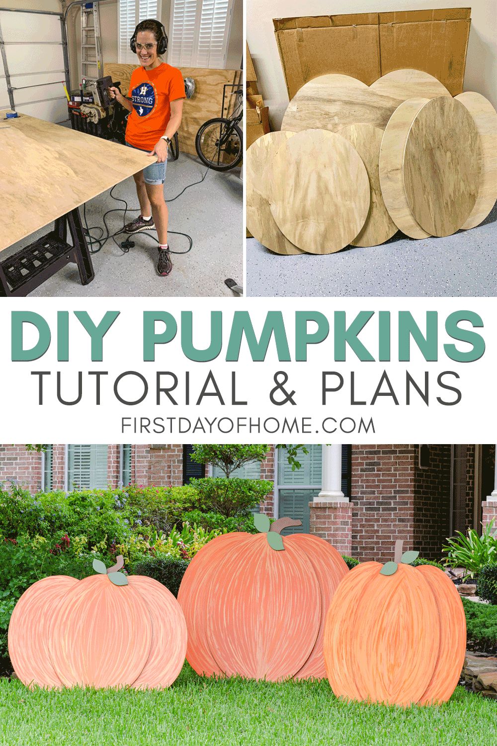 DIY wooden pumpkin cutouts for yard decorations