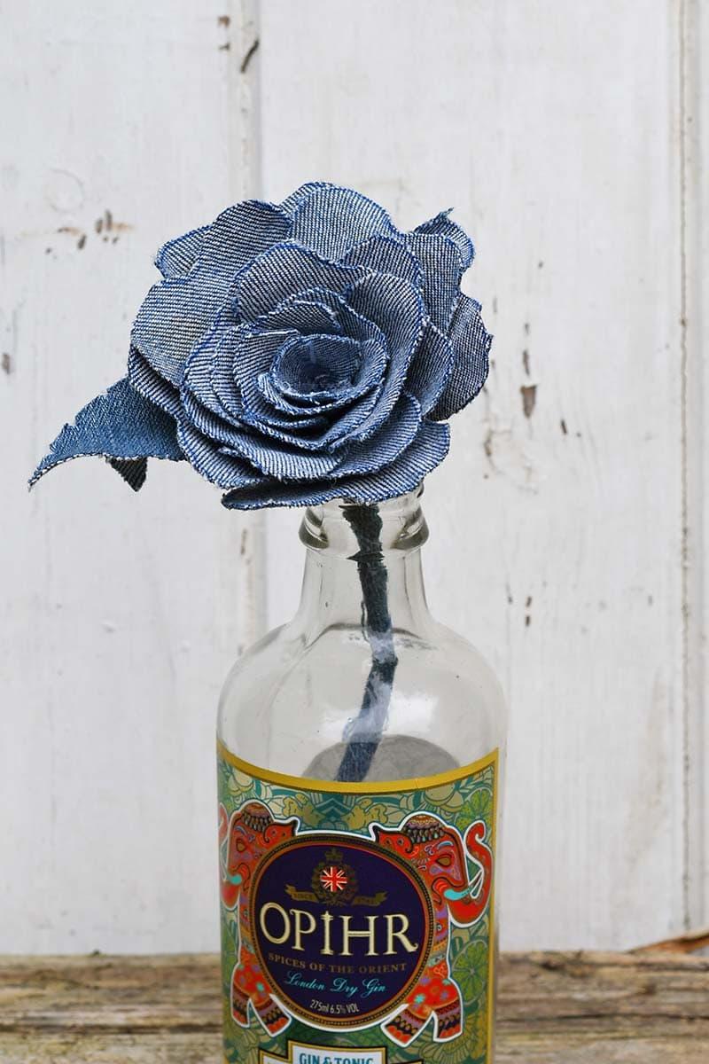 Upcycled denim flowers in vase