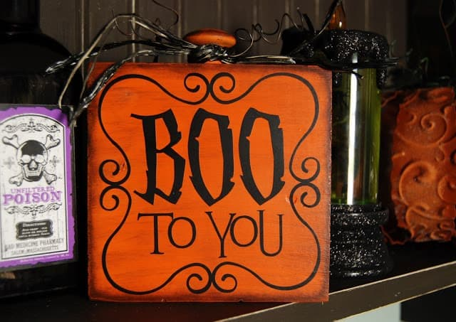 "Wooden block with ""boo to you"" text for Halloween"