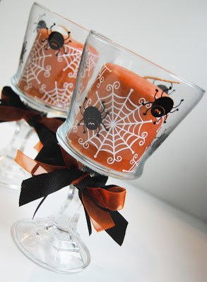 Spider web candles and candle holders made with Cameo or Cricut cutting machine