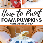 Dollar store painted pumpkins in black and white with gold stems