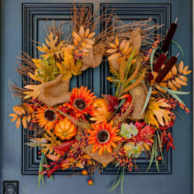 Grapevine wreath with pumpkins and leaves for fall