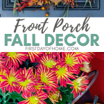 Fall front porch decor with grapevine wreath, mums and pumpkins