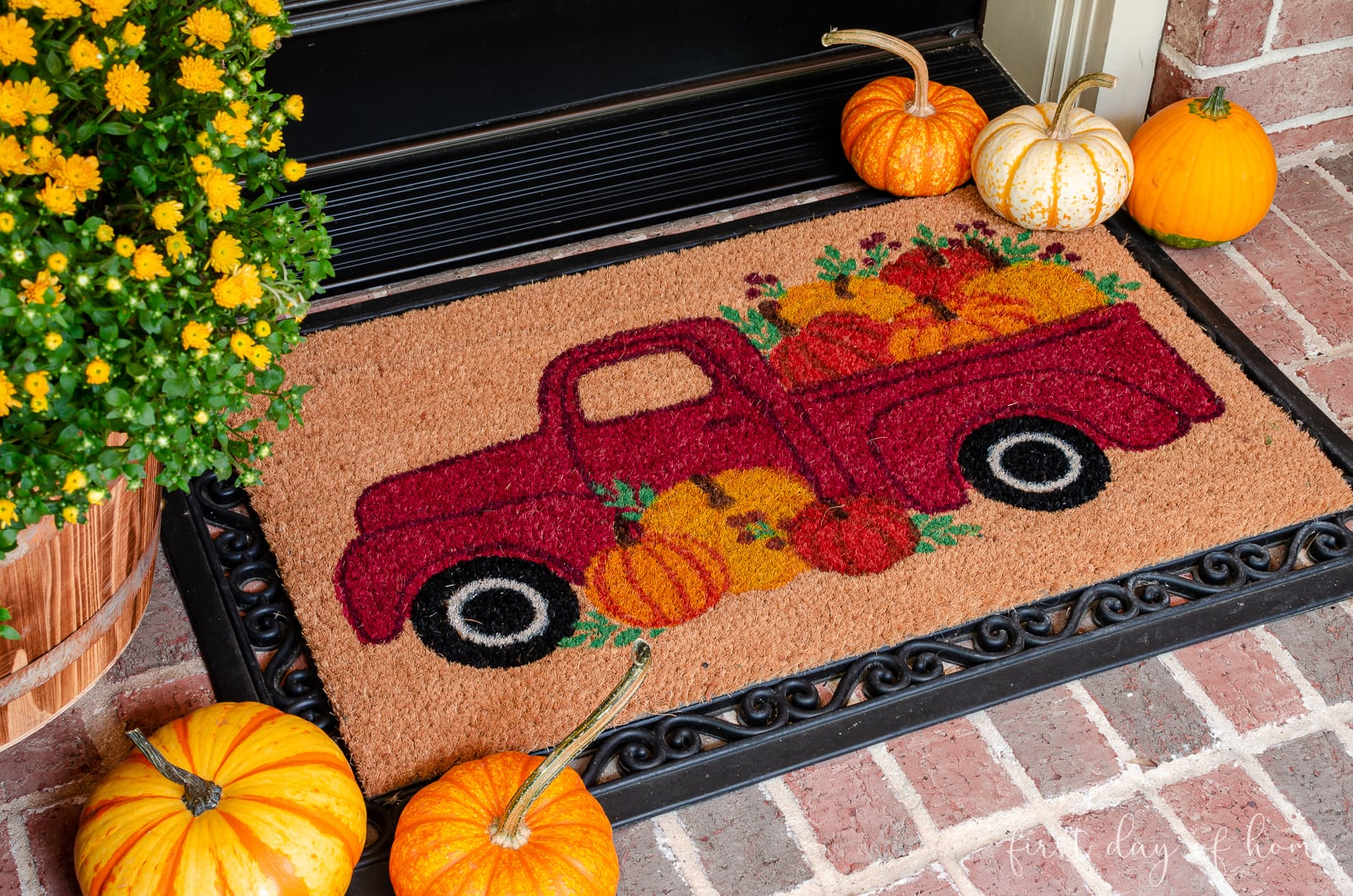 Farmhouse truck welcome mat for fall front porch decor