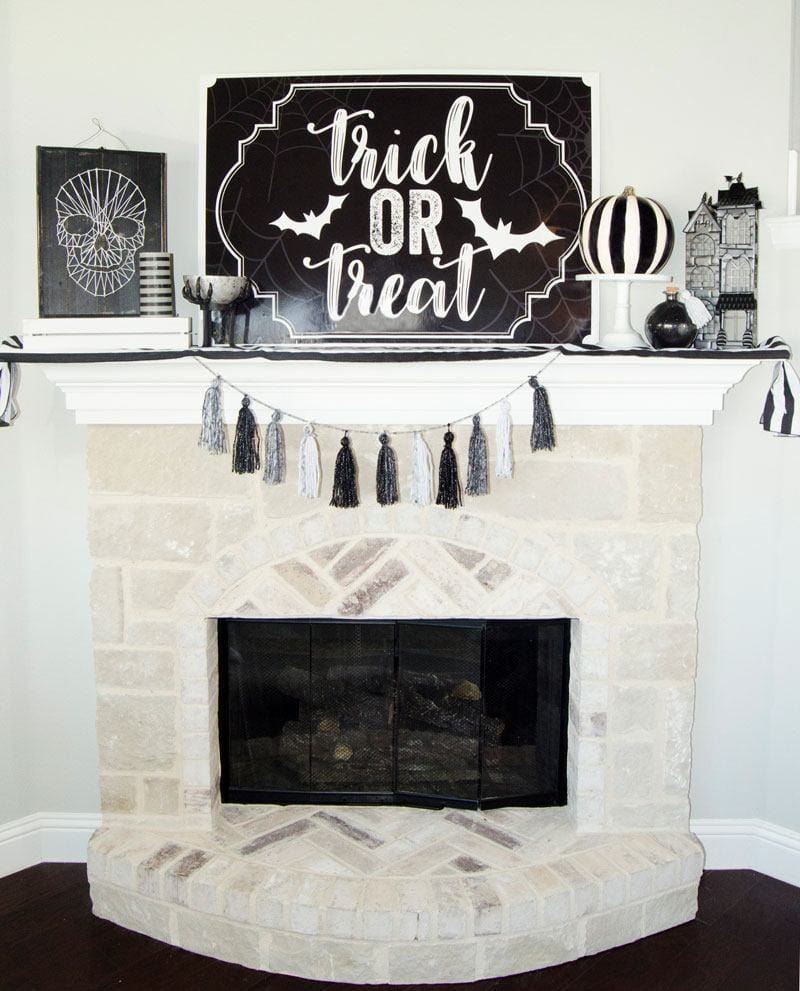 "Free Halloween printable sign saying ""Trick or Treat"" for mantel decor"
