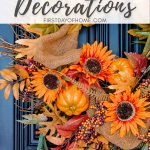 Fall front porch decor with grapevine fall wreath