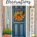 Fall front porch with wreath, pumpkins, mums and fall mat