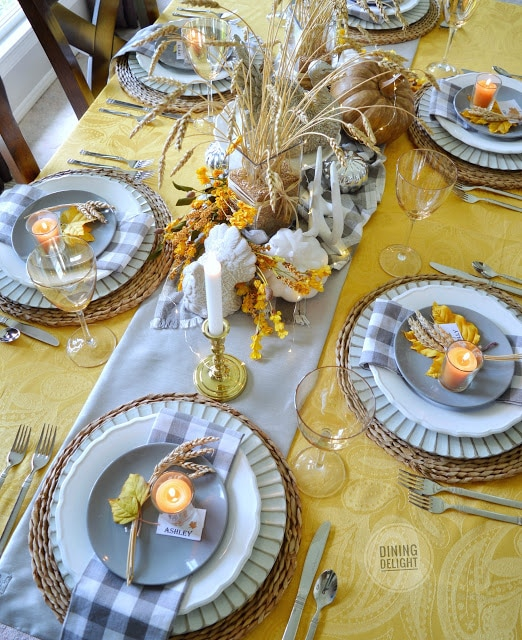 Yellow and gray table decor for Thanksgiving