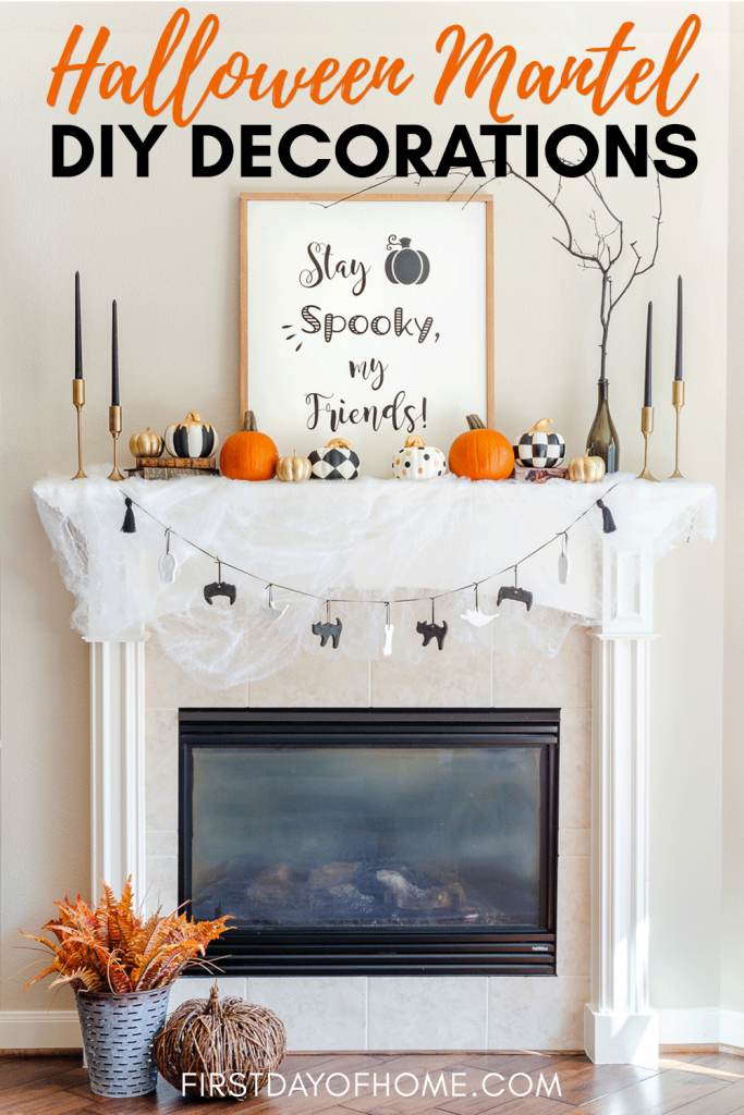 Halloween mantel decorations with DIY farmhouse wood sign, painted dollar store pumpkins, salt dough ornament Halloween garland and other DIY crafts