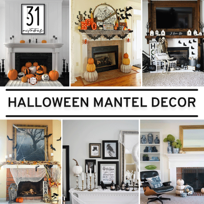 Halloween mantel decorations with black and white themes and autumn color themes