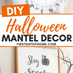DIY Halloween mantel decor with homemade Halloween garland made of salt dough ornaments, painted dollar store foam pumpkins, and a DIY farmhouse sign