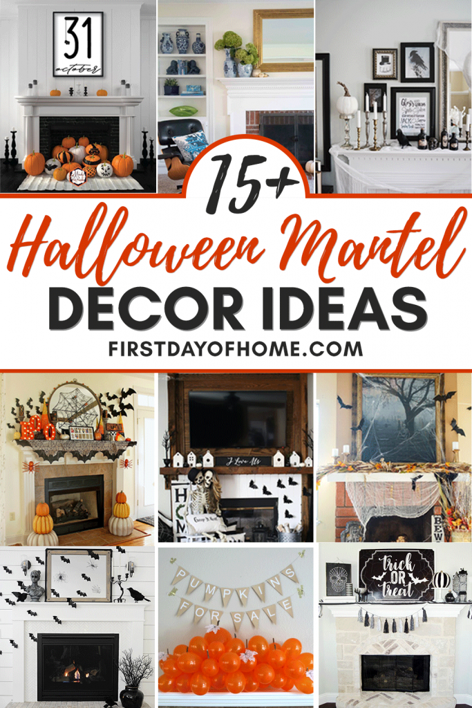 Halloween mantel decorations in various styles, including bats, farmhouse signs, bats and spider webs