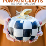 Painted dollar store foam pumpkins in black, white and gold