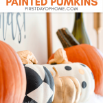 Dollar store painted foam pumpkins used for fall decor or Halloween mantel decor