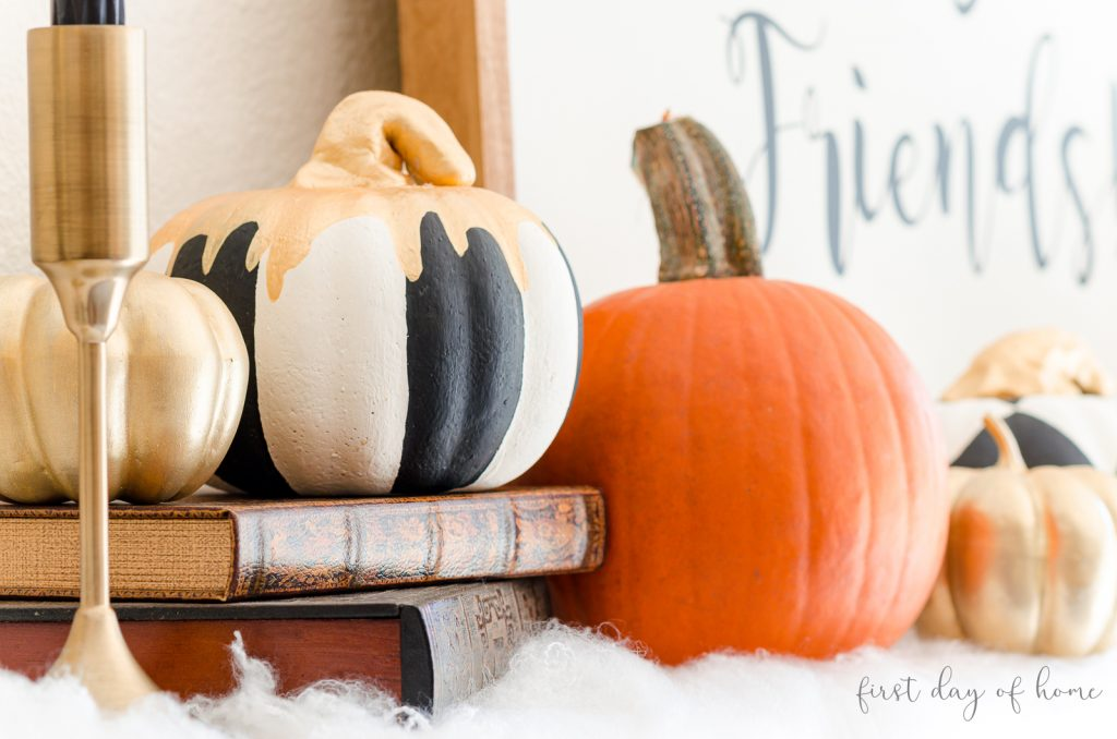 Painted foam pumpkins using black and white chalk paint, acrylic paint and gold leaf