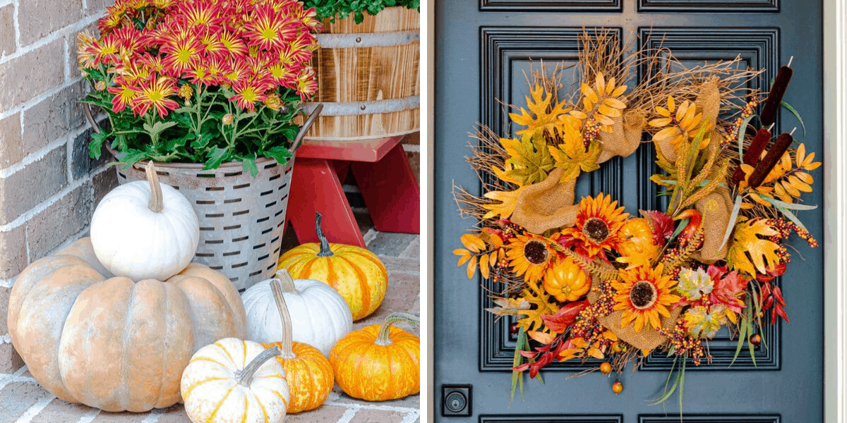 Fall front porch decor with pumpkins, mums and fall wreath