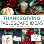 Thanksgiving tablescape ideas with moody colors like burgundy and navy with printable place cards