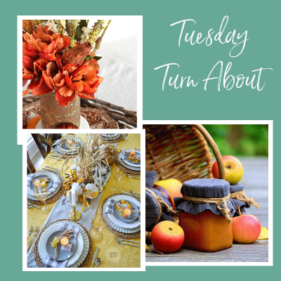 Fall Tuesday Turn About featured posts, including fall rustic vignettes, gray and yellow tablescape and slow cooker apple butter
