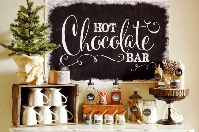 Hot chocolate bar by Pen Paper and Flowers blog