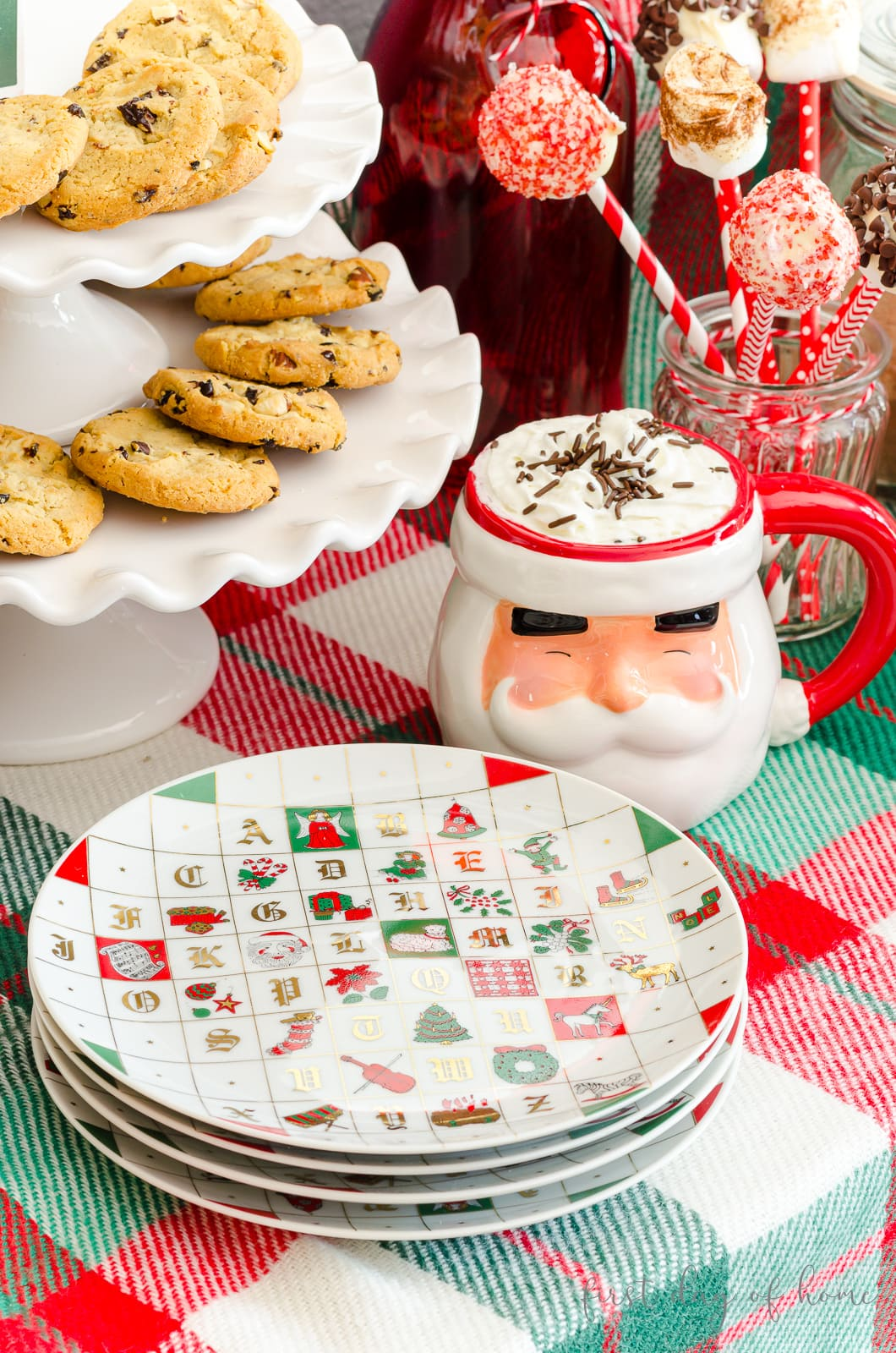 Alphabet Christmas plates and white scalloped tiered tray
