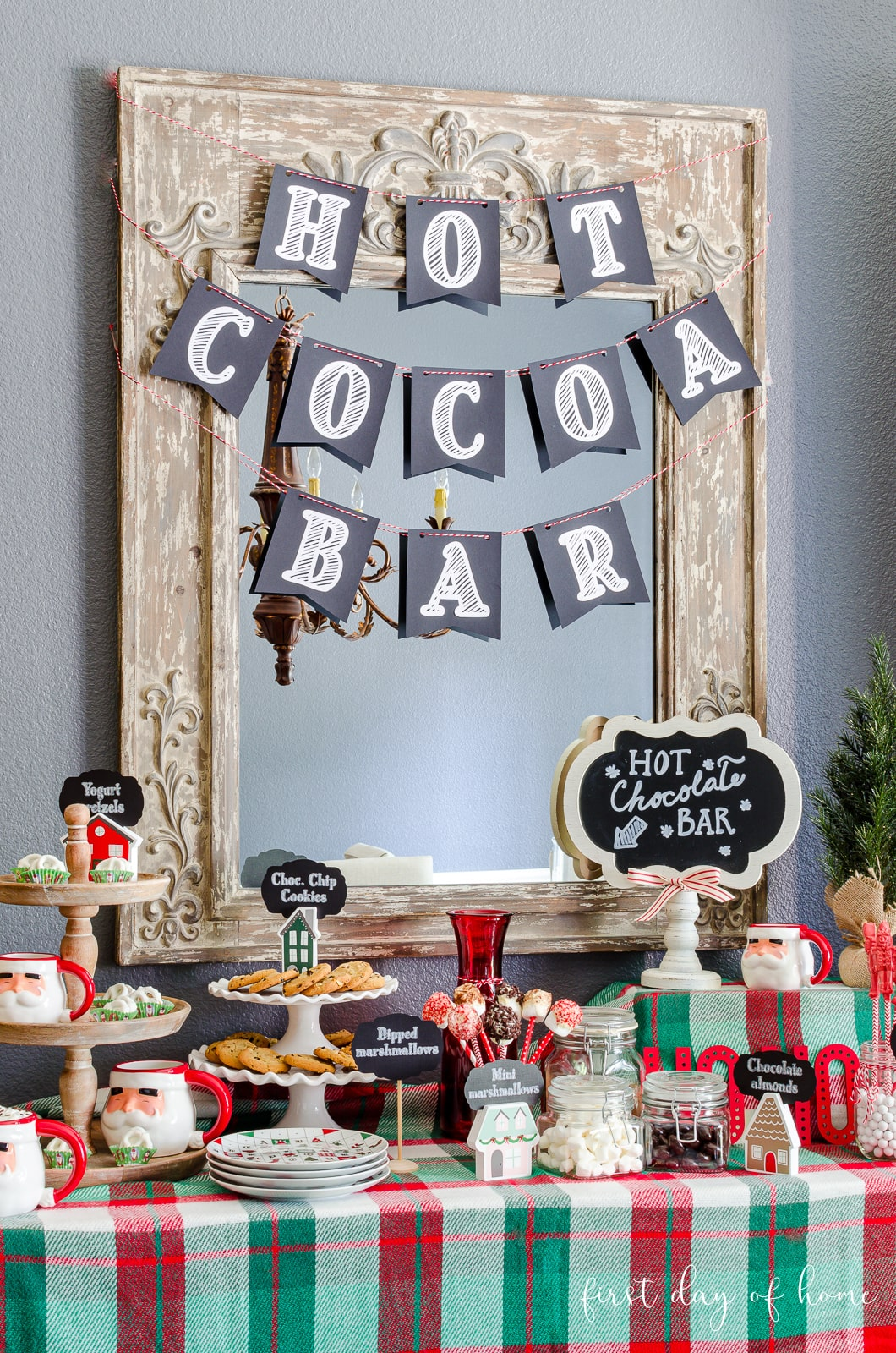Hot cocoa bar ideas with chalkboard signs, cocoa bar accessories like Spode plates and other decor and toppings